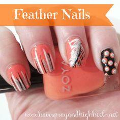 DIY Feather Nails DIY Nails Art