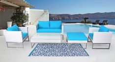White wicker with blue cushions. The ultimate modern outdoor conversation set CAPRIASCA is a perfect fit for any outdoor space, this set is available in white or brown wicker and has multiple cushion color options. Rattan Furniture Set, Rattan Sofa, Outdoor Furniture Sets, Outdoor Decor, Turquoise Cushions, Blue Cushions, Patio Umbrellas, Patio Seating, Outdoor Settings