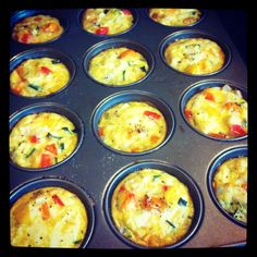 Egg cupcakes! So easy. Scramble up some eggs, add veggies to your liking and add them together in a big bowl. Just like cupcakes, pour into cupcakes and bake for 30 mins. They're great for snacks all week.