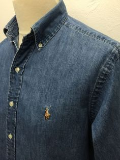 £34 Polo #RalphLauren #Mens #Denim #Shirt Medium Classic Fit Blue Denim #menswear #mensfashion #mensstyle