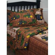 John Deere Traditional Plaid Pattern Twin Comforter by John Deere. $49.99. John Deere Twin Traditional Plaid Comforter Comforter fits a twin size bedBrown plaid is decorated with john deere tractors and logoComforter is 62 by 86-inchAlso look for matching sheet sets, drapes, and bed skirt for a room your tractor fan will love