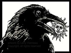 RAVEN STEALS The SUN...again   relief 12 inch by 8 by RAVENSTAMPS, $37.50