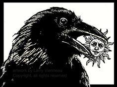 Raven illustraties, Raven, kraai, reliëf print, 12 inch met 8 inch 2013