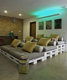 Do it yourself home theater palets. Daily update on my website: myfavoritediy., Do it yourself home theater palets. Daily update on my website: myfavoritediy. Home Theater Setup, Home Theater Design, Home Theater Seating, Movie Theater, Theatre, Theater Seats, Outdoor Theater, Theater Rooms, Rustic Furniture