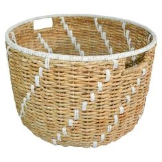 J's Room: Toy Storage and adds warmth to white furniture- The Pillowfort Seagrass Round Decorative Basket Baby Play Areas, Kids Play Area, Toy Storage Baskets, Diy Playbook, Rattan Basket, Declutter Your Home, Decorative Storage, Decorative Baskets, Basket Decoration