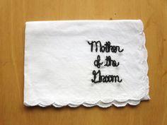 Wedding Mother of the Groom Cursive Lettered Handkerchief By wrenbirdarts on wrenbirdarts.com $20