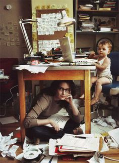 Tina Faye. Okay, we know this is from an American Express photo shoot, but we like to think this is a picture of her actual home office. Check out the intricate Post-It note organizational system — that screams Tina to us.