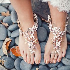 Barefoot Sandles Ribbon Wedding Bikini Women Beach Bridal Sandals Jewelry Shoes READY TO SHIP