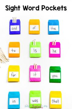 These sight word pockets are a hands-on and effective way to teach kids to identify and spell sight words. It can even be used as a word wall.