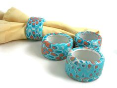 Hey, I found this really awesome Etsy listing at https://www.etsy.com/listing/191267572/aqua-napkin-ring-set-handmade-polymer