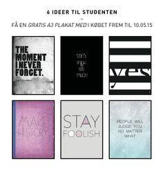 Grafiske plakater fra shop.anetmai.com Gaveide til studenten.