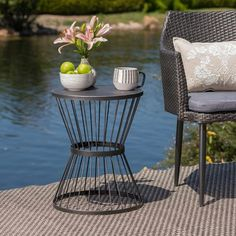 51 Outdoor Side Tables That Will Add Convenience To Your Outdoor Experience Patio Side Table, Metal Side Table, Round Side Table, Side Tables, Outdoor Couch, Outdoor Tables, Outdoor Spaces, Outdoor Decor, Outdoor Living