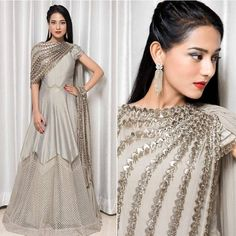 Spotted: in grey floor length anarkali with tassled embroidery detail ✨ this outfit at Carma by sending us a screenshot at Indian Designer Outfits, Designer Gowns, Indian Outfits, Lehnga Dress, Lehenga Choli, Anarkali, Churidar, Bollywood Outfits, Bollywood Fashion