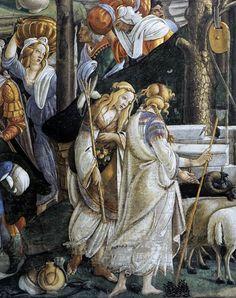 Sandro Botticelli e aiuti - Prove di Mosè, dettaglio - 1481-1482  - affresco  - Città del Vaticano, Cappella Sistina