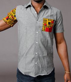 Ankara Chambray shirt by SoTribal on Etsy African Shirts For Men, African Clothing For Men, Mens Clothing Styles, African Fashion Designers, African Print Fashion, Africa Fashion, African Attire, African Wear, Moda Afro