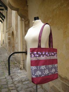 Sac Ruban carré porté épaule framboise et gris par FeeHome sur Etsy, €49,00