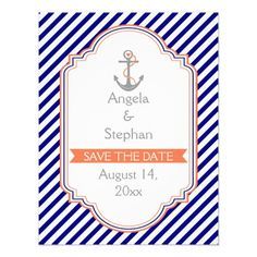 Navy blue, coral nautical wedding Save the Date Personalized Announcements