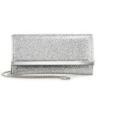 Jimmy Choo Milla Glitter Goat Leather Fabric Wallet ($760) ❤ liked on Polyvore featuring bags, wallets, apparel & accessories, silver, jimmy choo bags, snap closure wallet, white bag, glitter wallet and jimmy choo wallet