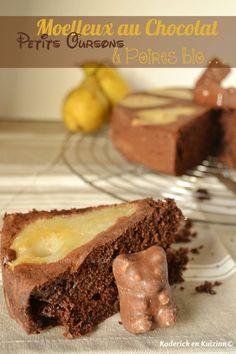 Dégustation du moelleux chocolat aux petits oursons guimauve et poires bio - Kaderick en Kuizinn©