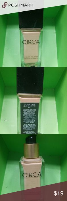 Circa Color Balance Foundation Shade 4 Circa Color Balance Foundation Shade 4 (light/med). Used once,  has 80% of product left. Has medium coverage, buildable, satin/skin like finish. I have this in my shade and its a really nice lightweight foundation that seems to last quite awhile!  Get it before its gone!  😊 circa Makeup Foundation