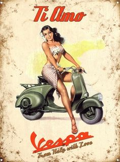 Vespa Pin-Up Girl July 1951 - Vintage Ads with Sex Appeal. Over 2000 vintage designs which could be said to have sex appeal. The blurred line between sex appeal and sexism. Pin Up Vintage, Vintage Vespa, Retro Pin Up, Vintage Ads, Vintage Designs, Scooter Girl, Retro Scooter, Vespa Girl, Vespa Retro