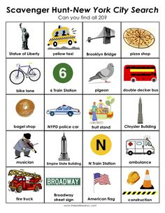 Scavenger Hunt for Kids: New York City Search for your friends kids when they visit!