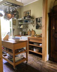 Baseboard Trim, Baseboards, Kitchen Cart, Kitchen Storage, Jenny Rose, Cottage Kitchens, Cozy Cottage, Home Organization, Home Remodeling