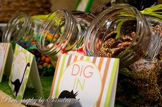 Love this candy jar buffet look