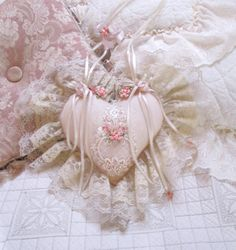 Lace heart victorian shabby chic heart wedding shower bridal decoration