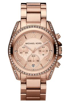 Rose Gold Michael Kors 'Blair' Chronograph Watch $250.00