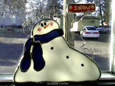 Melting Snowman Stained Glass