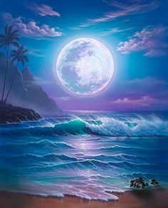 53 Super Ideas For Fantasy Landscape Ocean Dreams Seascape Paintings, Landscape Paintings, Sky Painting, Ciel Nocturne, Moon Beach, Fantasy Island, Beautiful Moon, Fantasy Landscape, Moon Art