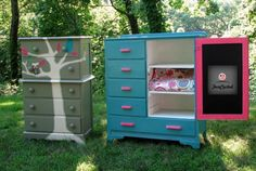 Tuesday's Treasures – Girl's Dressers Makeover.  For real had that blue dresser growing up. Nice way to up cycle it!