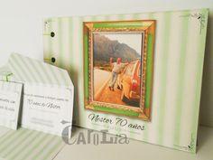 Tarjeta/sobre 8cm x 12cm (cerrada) + Álbum de firmas 17cm x 25cm