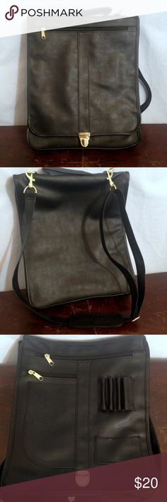 """🆕 BLACK VEGAN LEATHER LAPTOP MESSENGER BAG Black vegan leather laptop messenger bag. Long adjustable strap, exterior zipper pocket on bag flap, gold-tone button clasp closure. Main bag with zippered sides expands. 2 zipper pockets, pen/pencil loops, business card pocket, carry handle. Great for Back to School!!! Never used, brand new condition! Measurements: 11"""" wide, 2-4"""" deep, 14"""" high, 19-28"""" drop. Bags Laptop Bags"""