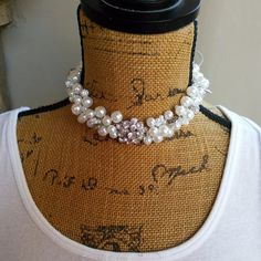 Pearl Bridal Statement Choker Necklace with Vintage Button, Handmade.