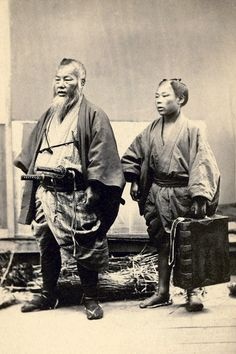 Samurai and retainer - Henry and Nancy Rosin Collection of Early Photography of Japan, 1860 - ca. Ronin Samurai, Samurai Armor, Japanese Warrior, Japanese Sword, Japanese History, Japanese Culture, Vintage Japanese, Japanese Art, Traditional Japanese