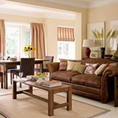 brown/cream living room