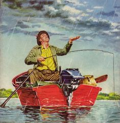 Fishing In The Rain… detail from cover of American Legion Magazine - April 1952