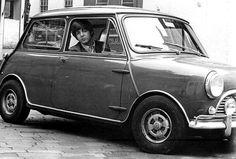 Paul McCartney with his Mini
