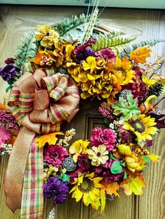 Fall Front door wreath, Fall Wreath, Fall Decor, Winter Wreath, Front door Wreath, Autumn Wreath, Harvest Wreath, Holloween Wreath by LeilasCreationsArt on Etsy