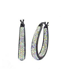 Aurora Borealis & Black Hoop Earrings With Swarovski® Crystals