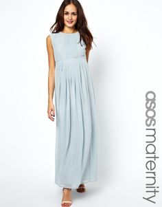Maternity Exclusive Maxi Dress With Pleated Front ASOS
