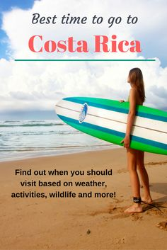 Find out the best time to visit Costa Rica depending on what you want to do and see. Costa Rica's weather, animal sightings and activities. Make your vacation dream a reality. #CostaRica #vacation #beach #surf #whales #turtles asoutherntraveler.com