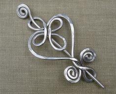 Celtic Heart and Swirls Aluminum Shawl Pin by nicholasandfelice