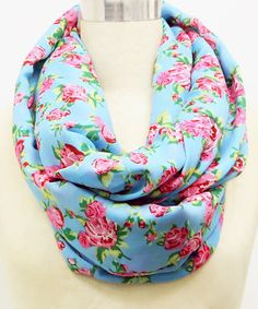 Look what I found on #zulily! Aqua & Pink Garden Rose Infinity Scarf by Betsey Johnson #zulilyfinds