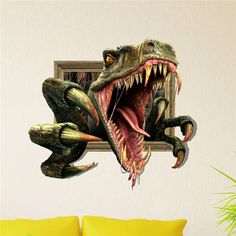 $13.59 Bolon Dino 3D Wall Decals Animal PAG STICKER Removable Wall Stickers Home Dinosaur Decor Gift
