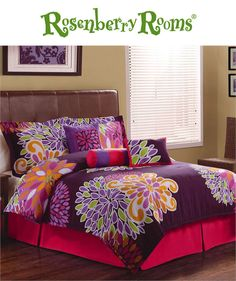 Bursting with color, the Flower Show Comforter Set is ideal for your teen girl's bedroom.  This girl's bedding set features bright large scale flowers on a dark purple background