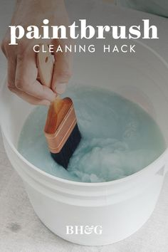 Clean your paintbrushes every two hours while working with water-based paint and at the end of your project. Read below for tips on maintaining the quality of your paintbrushes. #howtocleanpaintbrushes #cleanpaintbrushes #hack #cleaningtips #howtokeeppaintbrushes #bhg