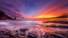 Morze, Wybrzeże, Kamienie, Zachód słońca